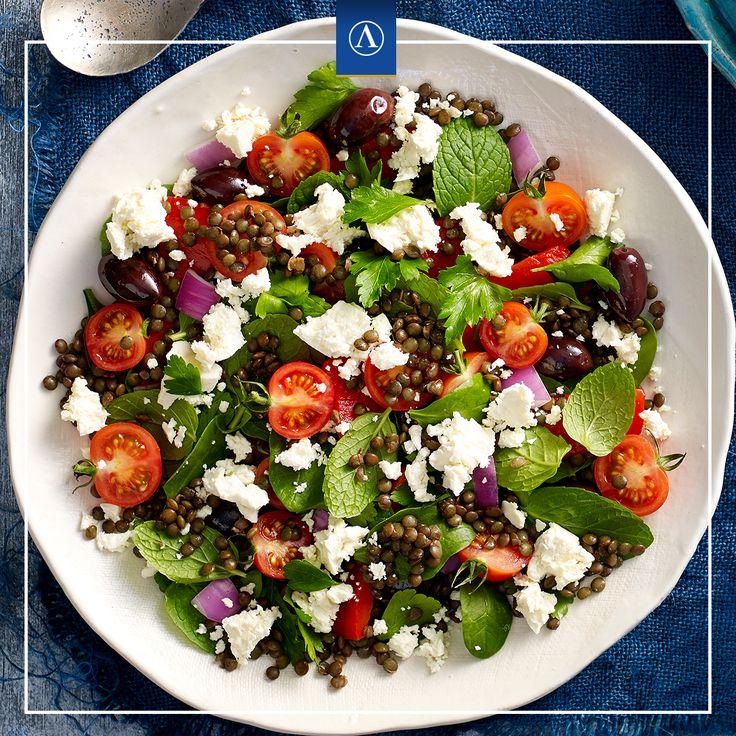 Greek Lentil Salad with Fetta  #vegetarianrecipes #easyrecipes #Lemnos #Fetta #Haloumi #Mediterranean