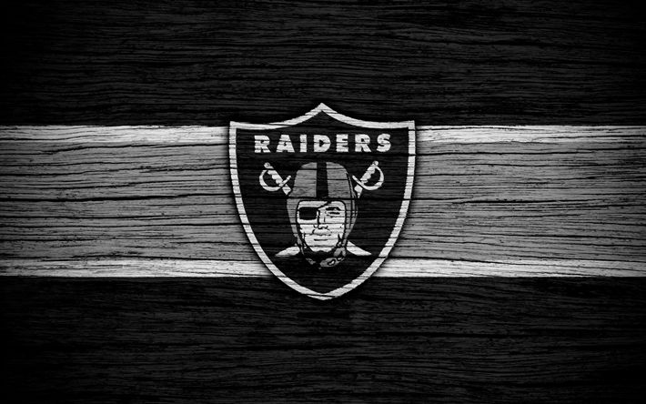Download wallpapers Oakland Raiders, NFL, American Conference, 4k, wooden texture, american football, logo, emblem, Auckland, California, USA, National Football League