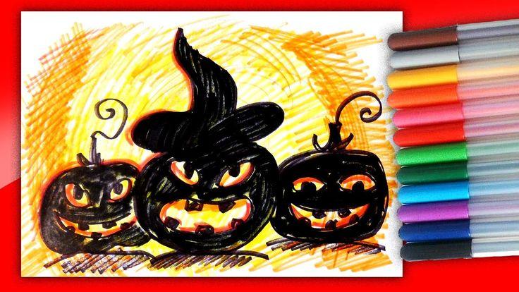 Страшные Тыквы Монстры на Хэллоуин фломастерами / Рисунки на Хэллоуин