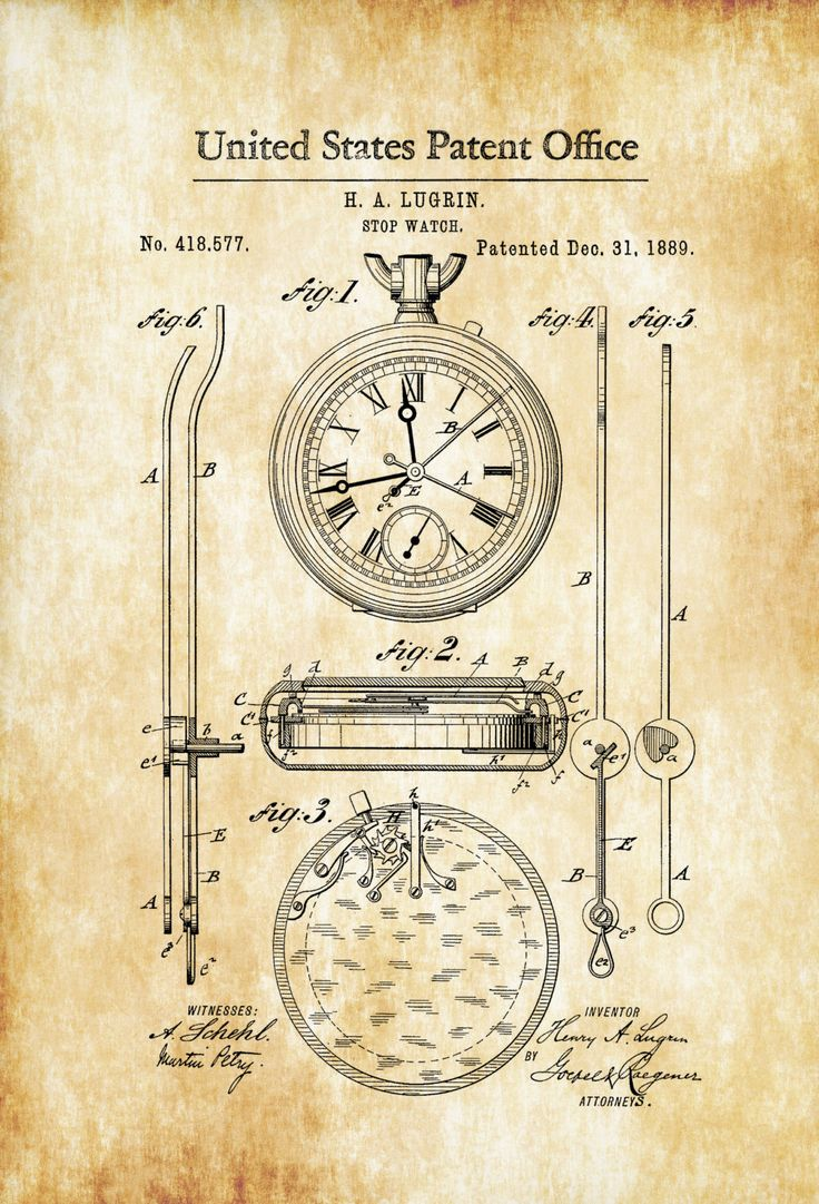Lemania Stop Watch Patent 1889 – Patent Print, Watch Art, Stopwatch, Clock Patent, Pocket Watch, Swimmer Gift, Coach Gift, Gift for Runner – myPatentPrints