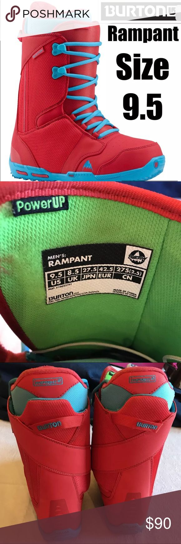 Burton Men's Rampant Snowboard Boots Size 9.5 Great Condition. Please see the last picture for the tiny bit of wear on the one boot. Burton Shoes Rain & Snow Boots