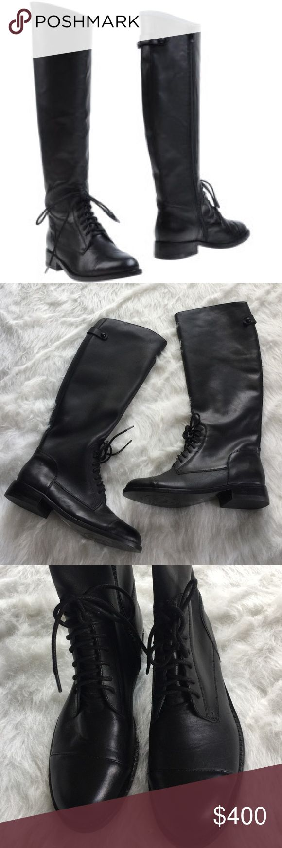 [Juicy Couture] •Riding Lace Up Boots• Adorable Juicy Couture rider lace up leather boots. Only worn once, in great condition! full zipper on inside of each boot. Juicy Couture Shoes Lace Up Boots
