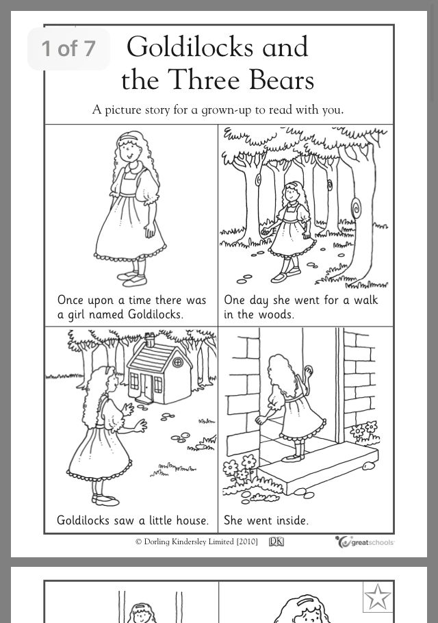 Pin By Claudia Alvarez On Online Books Goldilocks And The Three Bears Preschool Reading Kindergarten Reading Worksheets