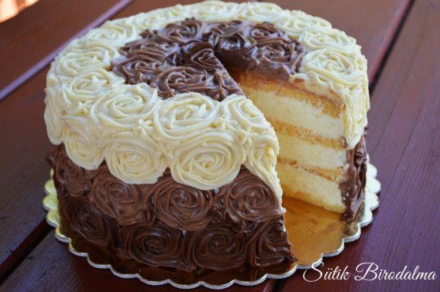 Citromkrémes torta csokoládé rózsákkal Recept képpel - Mindmegette.hu - Receptek