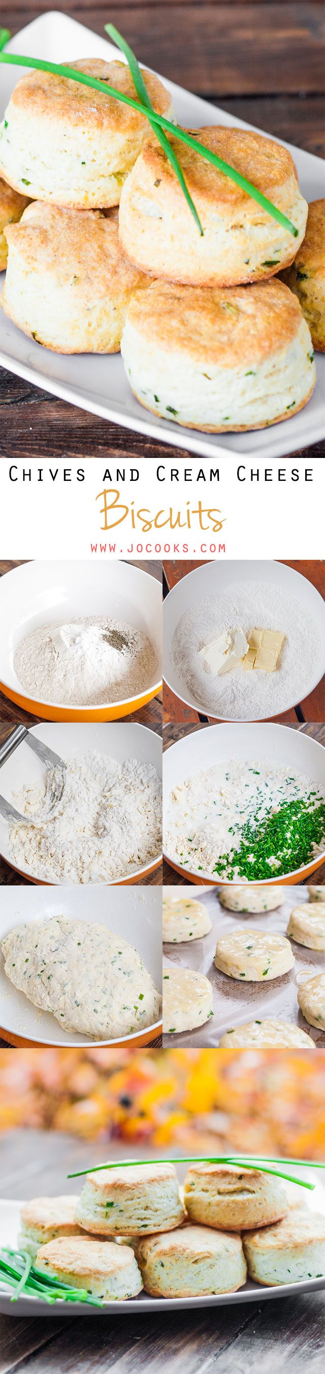 These Chives and Cream Cheese Biscuits are super flakey, buttery, and just delicious goodness.