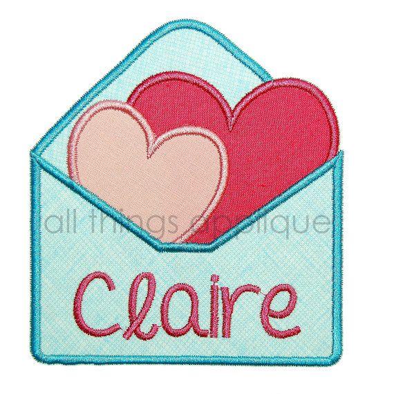 Hearts in envelope valentine applique design machine