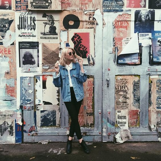 street art | city | street style | denim jacket | blonde | vintage