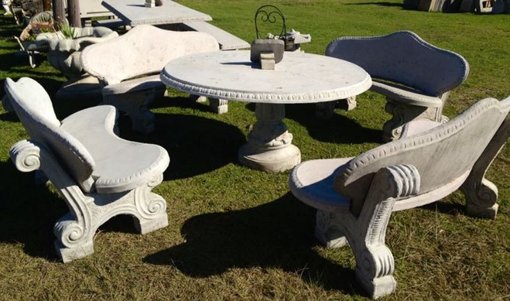 Our King George Concrete Table set, seats 8 people