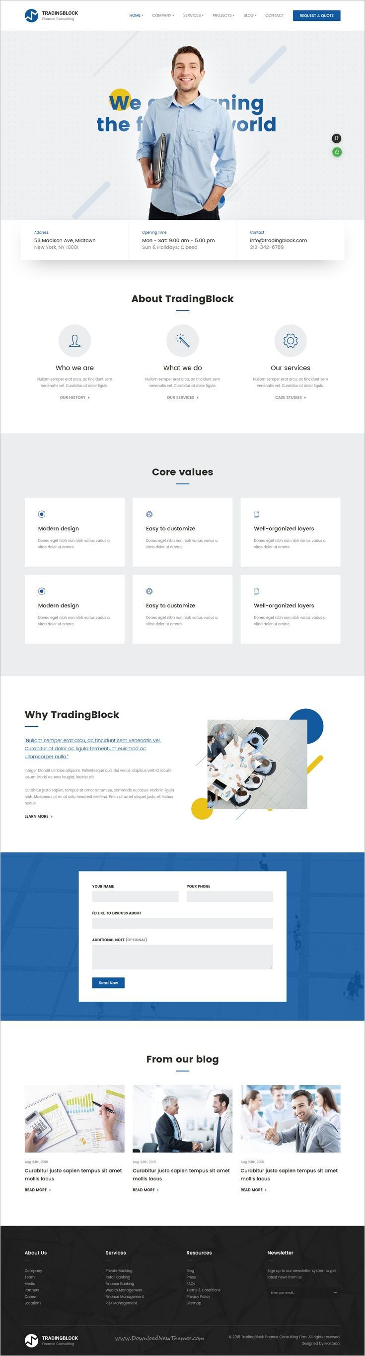 Tradingblock is a wonderful 8in1 responsive #Bootstrap template for financing, consulting, #accounting services & other related niches in the industry websites download now➩ https://themeforest.net/item/finance-business-html-responsive-template-tradingblock/18953353?ref=Datasata #FinanceBanner