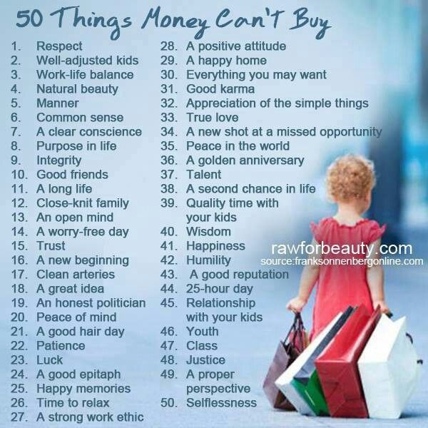 50 Things Money Can't Buy...The most important thing it cannot buy is a home in Heaven, for all eternity