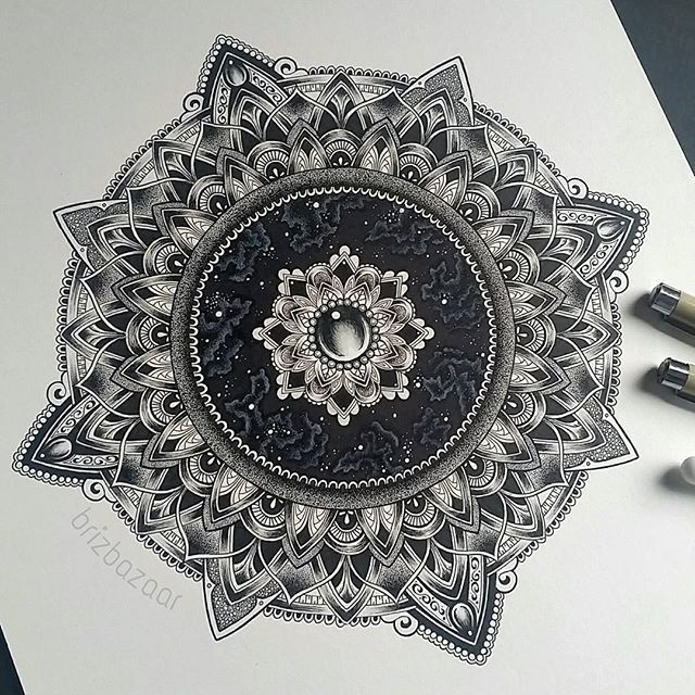 Mandala drawing by Brandi Young, instagram brizbazaar. Zentangle art, space, galaxy, cosmos, designs, round, tattoo, ink, graphic, black and white, jewel