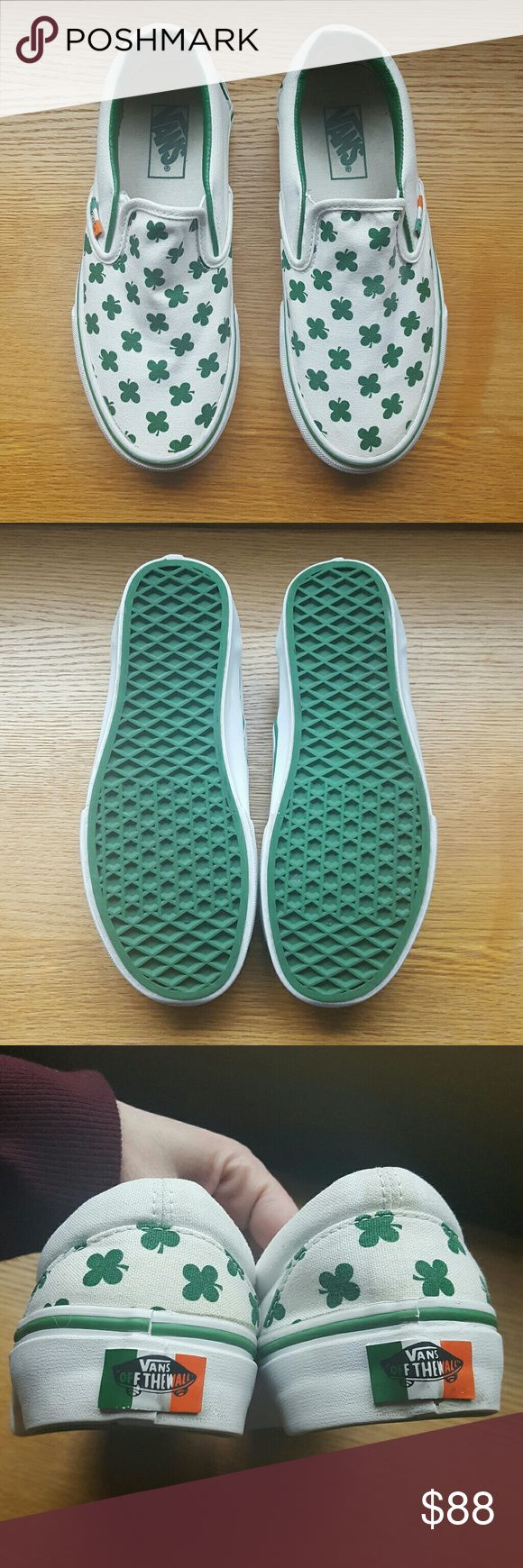 """VANS """"Erin go braugh"""" Leprechaun Grn/TrWht W6/M4.5 EUC""""Rare/HTF""""VANS Limited ReleaseEdition Erin Go Braugh Leprechaun green/true white Classic Slip on. Canvas upper featuring four leafed clovers all over, white rubber outsole with Leprechaun Green foxing stripe.""""Erin go braugh"""" is a Gaelic phrase and translated means """"Ireland forever"""" and was/is a rebel yell for allegiance to the country. In amazing condition after my restore and have virtually no wear. Womens size 6 and mens 4.5. Reasonable…"""