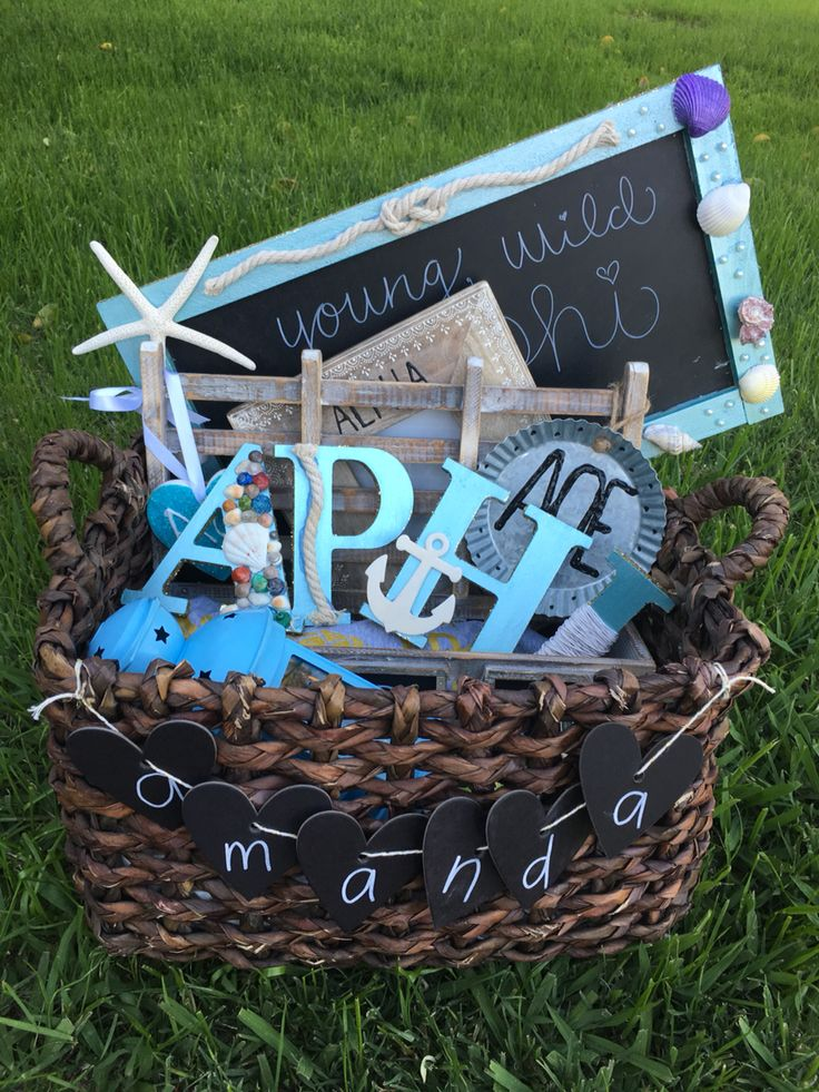 Cutest Alpha Phi big and little sorority basket!! Beach theme.