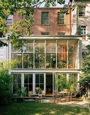 Renovated brownstone by fernlun + logan architects. A 15 foot deep steel and glass extension was added on to the rear of the brownstone
