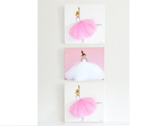 Nursery Art, Kid's Room, Ballerina Art, Pink Art (Set of 3 Ballerina Canvases)