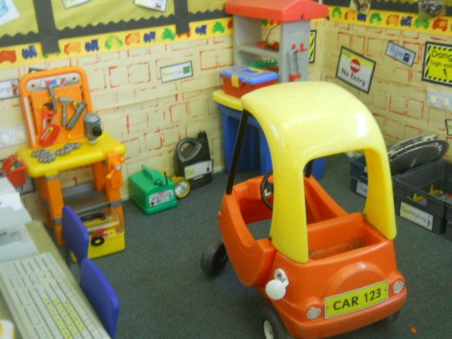 Item 24 Dramatic play Car Garage Role Play Corner Display, classroom display, class display, Roleplay, role play, role, mechanic, Early Years (EYFS), KS1 & KS2 Primary Resources