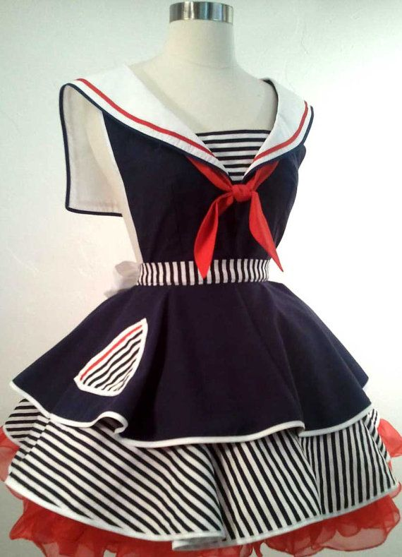 Sailor Sue Pin Up Costume Apron Cosplay by SassyFrasCollection