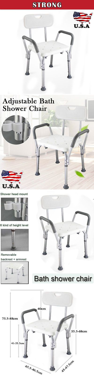 Shower and Bath Seats: Medical Shower Chair Bathtub Bench Bath Seat With Adjustable Legs And Back Support -> BUY IT NOW ONLY: $30.59 on eBay!