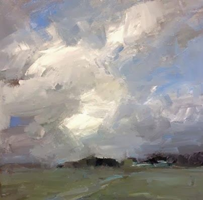 Clouds over the farmlands, acrylic, March 10, 2014, Parastoo Ganjei