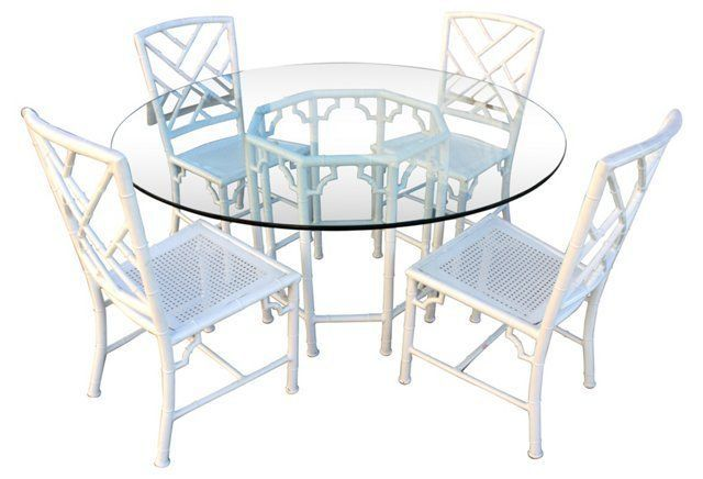 Metal Chippendale Style Dining Set, 5 Pc