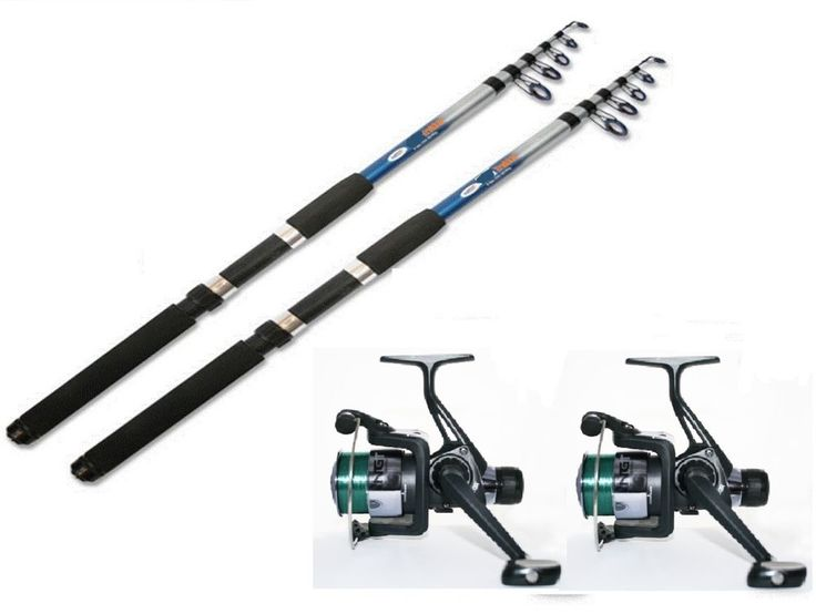 TFT 2 x 8 ft Telescopic Travel Fishing Rods + Fishing Reels with Line