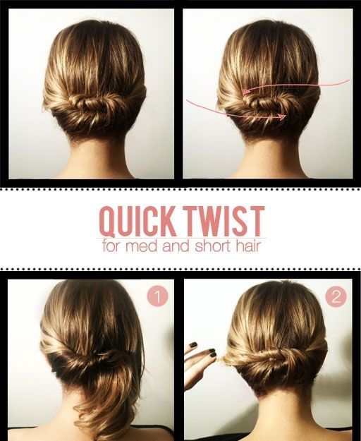 when the regular low bun just doesn't cut it...Short Hair, Hairstyles, Medium Length, Hair Twists, Shorts Hair, Quick Twists, Medium Hair, Hair Style, Updo