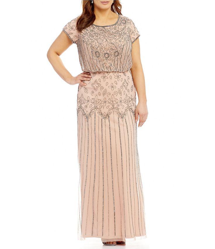 Adrianna Papell Plus Beaded Blouson Gown #Dillards