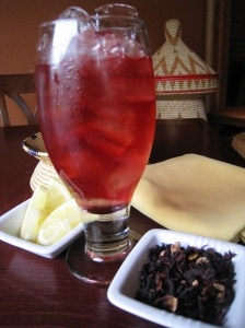 Hibiscus iced tea at Mesob Ethiopian Restaurant of Montclair, NJ.  My first beverage food styling photo.