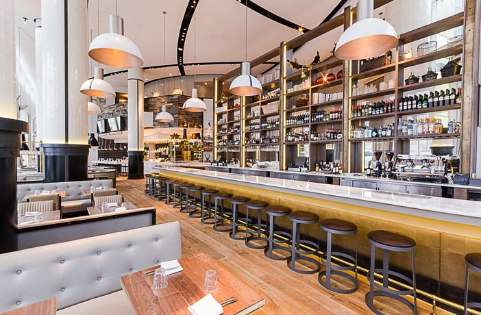 St. Cecilia in Atlanta, GA... Atlanta's star restaurateur Ford Fry dazzles Buckhead with his latest seafood palace, a dramatic three-story room featuring reclaimed woods in every shade, white-tiled columns, and a 20-seat marble bar. Savvy dishes skew both Asian (sashimi-like cobia crudo with trout roe, horseradish, and salt-and-vinegar chips) and European (smoky octopus with an Italian bean salad, cured tomato, and an aromatic sprinkling of oregano).
