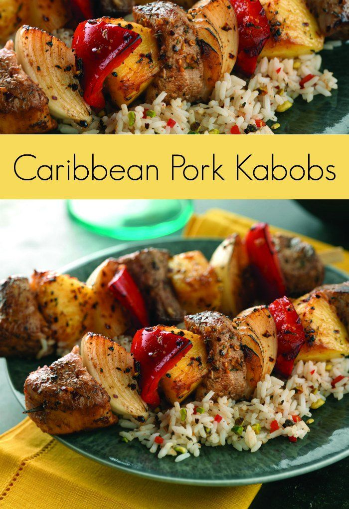 Caribbean Pork Kabobs Recipe -  perfect way to mix it up on the grill. Oh yum!!!
