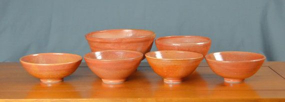 Orange Ceramic Bowl Set, Hand Thrown Porcelain Pottery, Soup Bowl, Cereal Bowl, Salad Bowl, Serving Bowl, Mixing Bowl | Caldwell Pottery