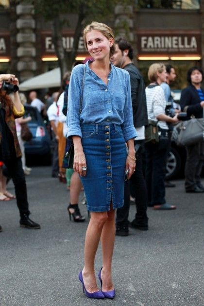 25 best Outfits - Denim skirt images on Pinterest