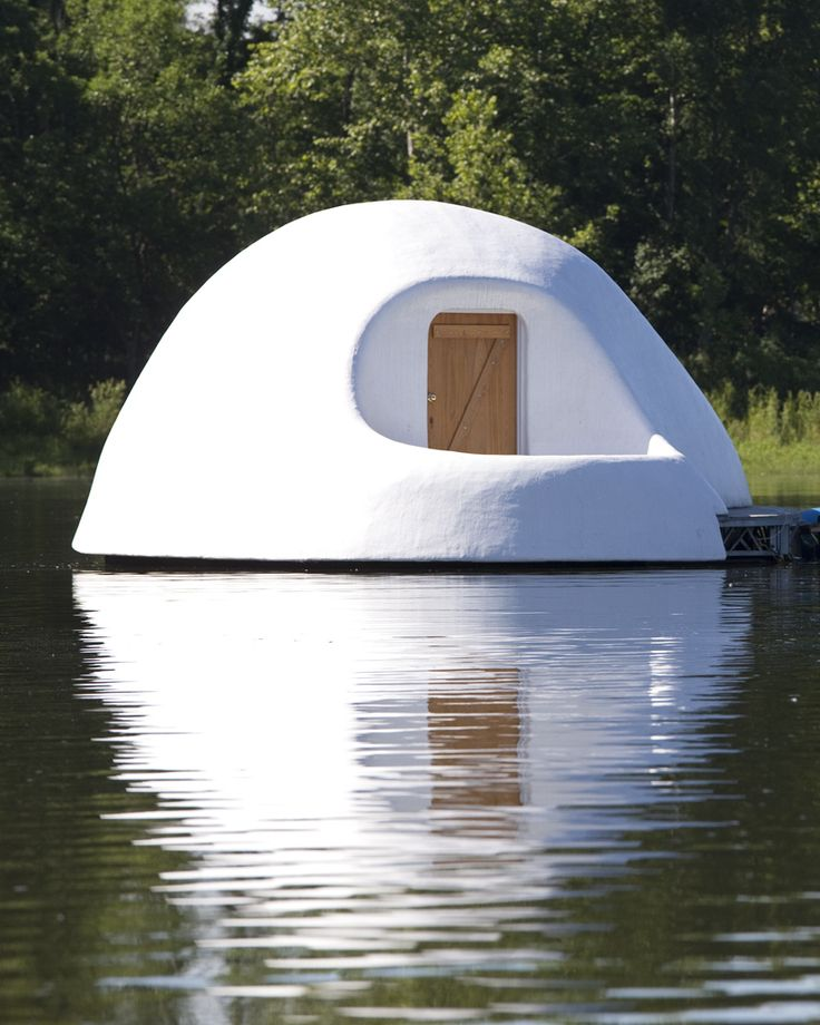 No Swimming: A Residency by Katherine Ball...girl lives in a plastic igloo on a lake outside a museum as a environmental residency project. Lives small, filters water with mushrooms, etc. This is her blog.