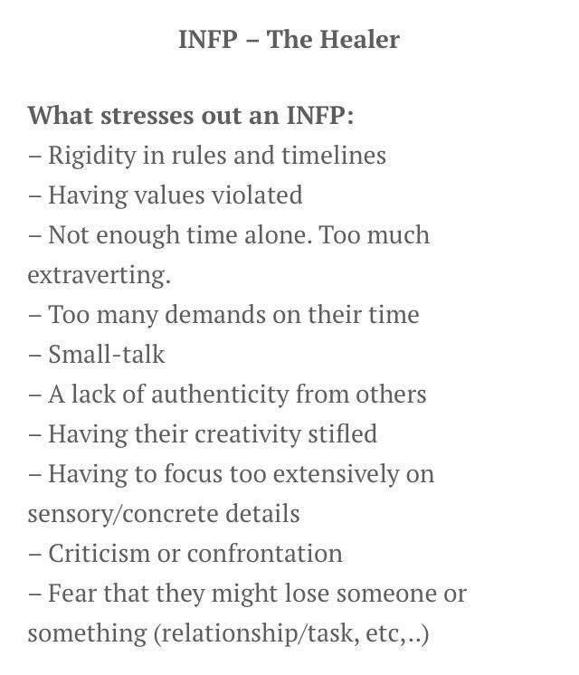What stresses out an INFP