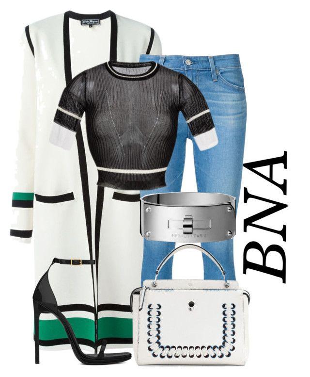 BNA by deborahsauveur on Polyvore featuring polyvore fashion style Salvatore Ferragamo Rochas AG Adriano Goldschmied Yves Saint Laurent Fendi clothing