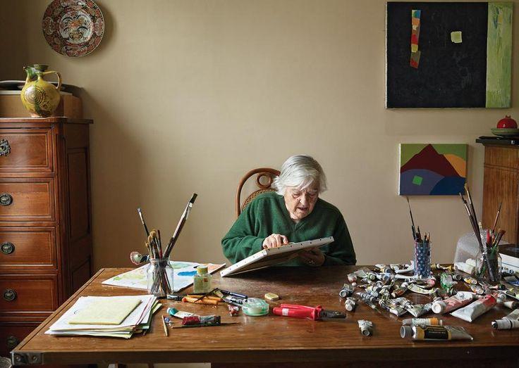 Artist Etel Adnan at work at her home in Paris.