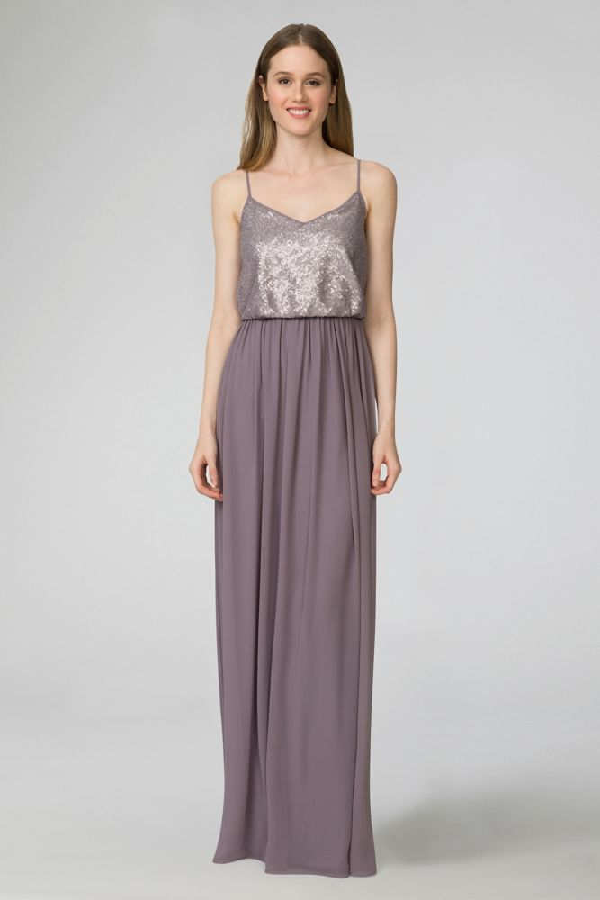 Paige V-Neck Sequin and Chiffon Bridesmaid Dress Style W2444MDB
