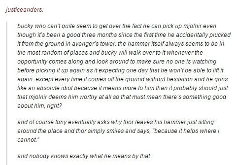 Head canon accepted! So both Cap and Bucky can lift Mjolnir. This makes perfect sense to me.