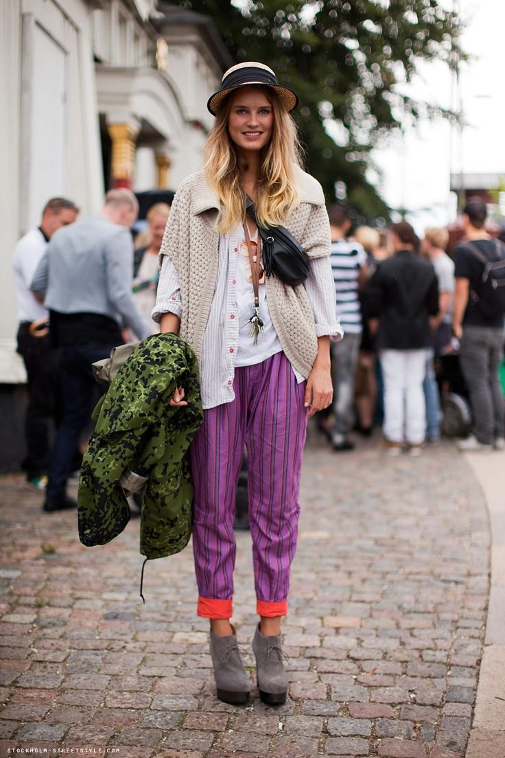 purple....: Ascotandhart Com, Prints Pants, Gypsy Styles, Purple Pants, Stockholm Street Styles, Fashion Inspiration, Cutest Outfit, Boho Styles, People Of Walmart