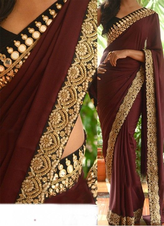New Brown Georgette Designer #Saree#beautiful #new_arrival #Latest