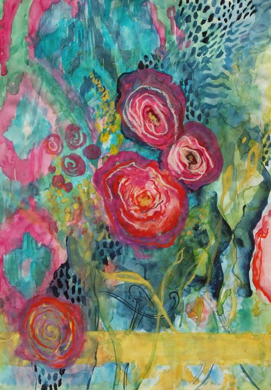"Annie Flynn; Mixed Media, 2012, Painting ""Ikat Peonies"""