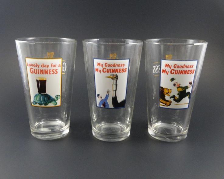 "GUINNESS GLASSES Set of 3  ""My Goodness My Guinness"""