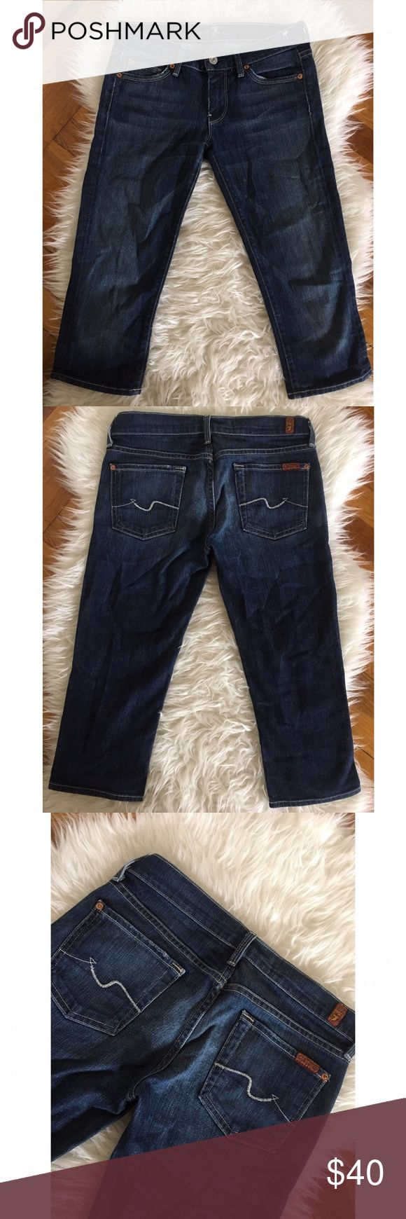 7 for all mankind jean capri shorts size 26 Great condition. No trades. Size 26. Dark blue wash.  98% cotton 2% Lycra  Made in the USA 7 For All Mankind Jeans Ankle & Cropped