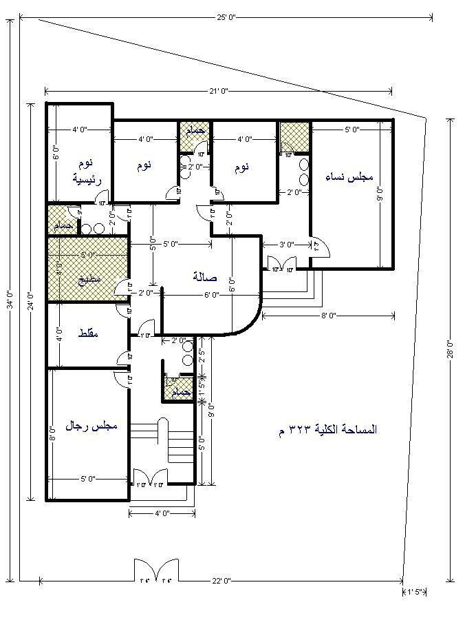 من يبحث عن مخططات دور ارضي كامل هنا مخططات رائعه منتديات شبكة المهندس House Floor Design Beautiful House Plans House Construction Plan