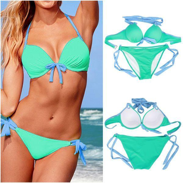 green bikini color Solid womens lime