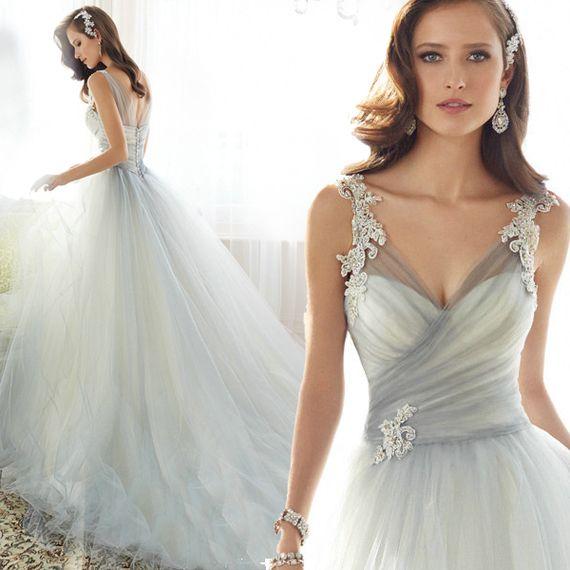 Awesome Wedding dress new spring and summer fashion Slim Shoulder Deep V neck Europe and
