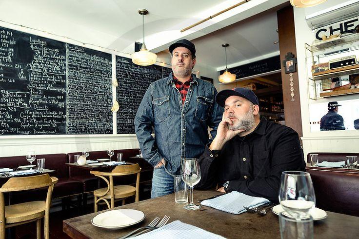 Chefs David MacMillan and Frédéric Morin  posing in Joe Beef restaurant - shooting for  Gault et Millau Canada