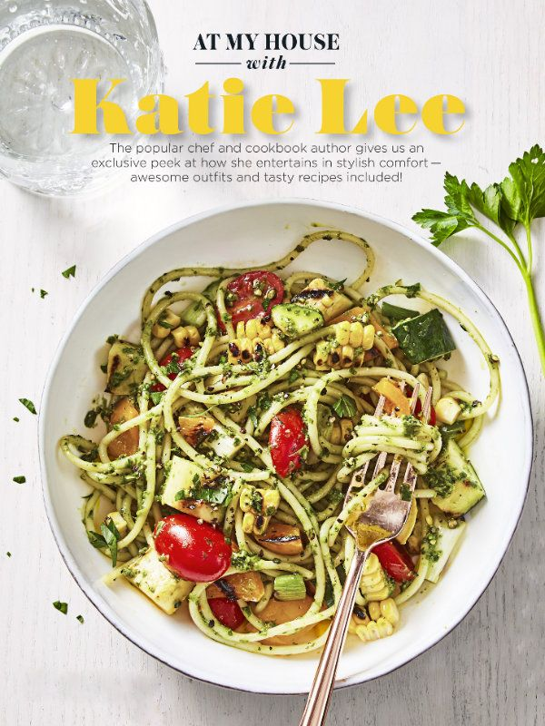 """Summer Pesto Pasta 1 lb. spaghetti 2 ears corn, shucked 1 medium yellow squash, cut into 1/2""""-thick slices 1 medium zucchini, cut into 1/2""""-thick slices 1 small bell pepper, seeded and cut into sixths 4 green onions, trimmed 2 tbsp. olive oil 1 lemon 1/2 c. store-bought refrigerated pesto 1 pt. grape tomatoes, halved 1/4 c. packed fresh parsley, chopped Directions 1. Heat grill on medium-high. Cook spaghetti as label directs. Rinse, drain well and let cool completely. 2. In large bowl…"""