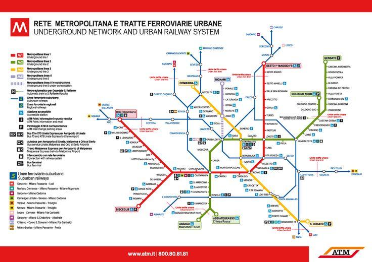 Milan subway and suburban railways map, 2013
