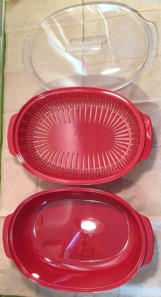 KitchenAid Microwave Steamer Container plus Insert plus Lid Red W10660052 LARGE! #KitchenAid